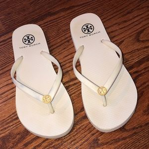 Authentic Tory Burch Flip Flops - white